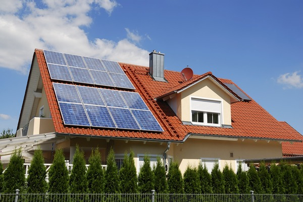 Solar panels on a house roof